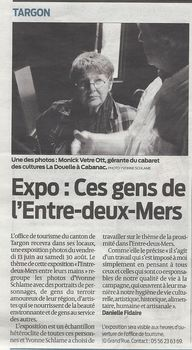"Article in ""Sud Ouest"" June 2014"